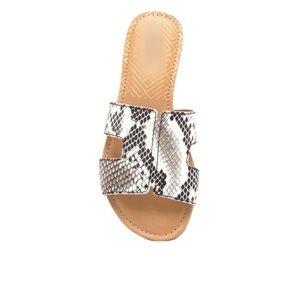 Black and white snake print sandals